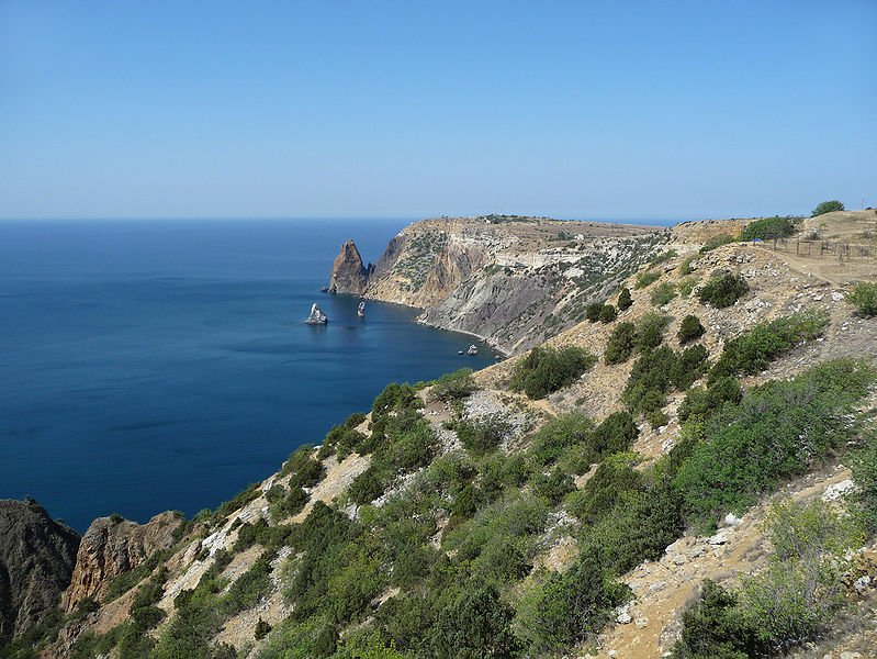 Fiolent Rock Formation, Sevastopol, Crimean Peninsula, Ukraine, with view of the Black Sea