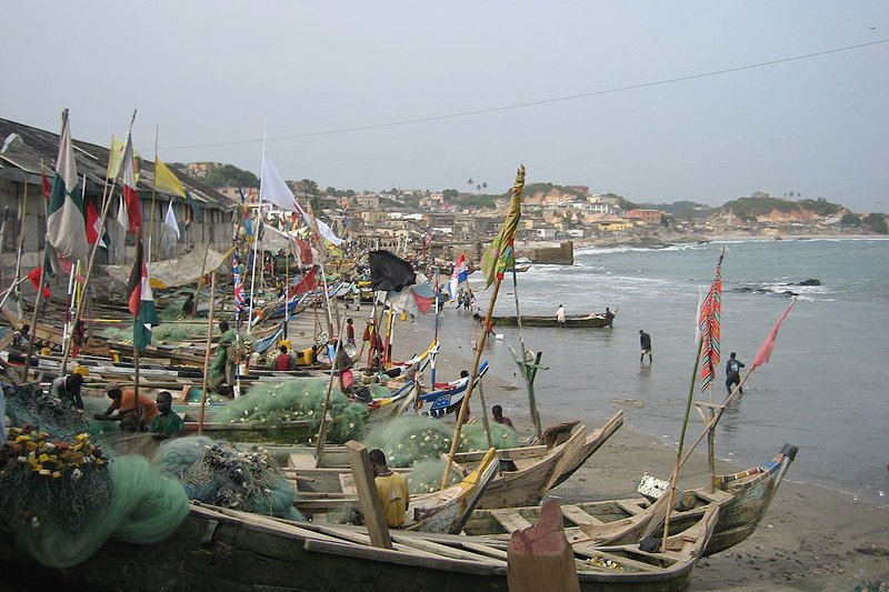 Fishing boats at Cape Coast, Ghana