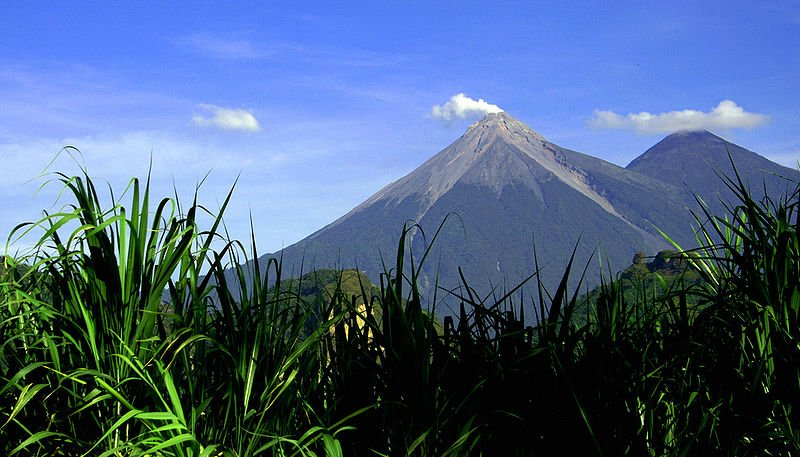 Fuego and Acatenango volcanoes in Guatemala
