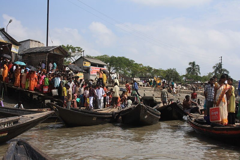 Hasnabad ferry pier in West Bengal for ferry services to Bangladesh