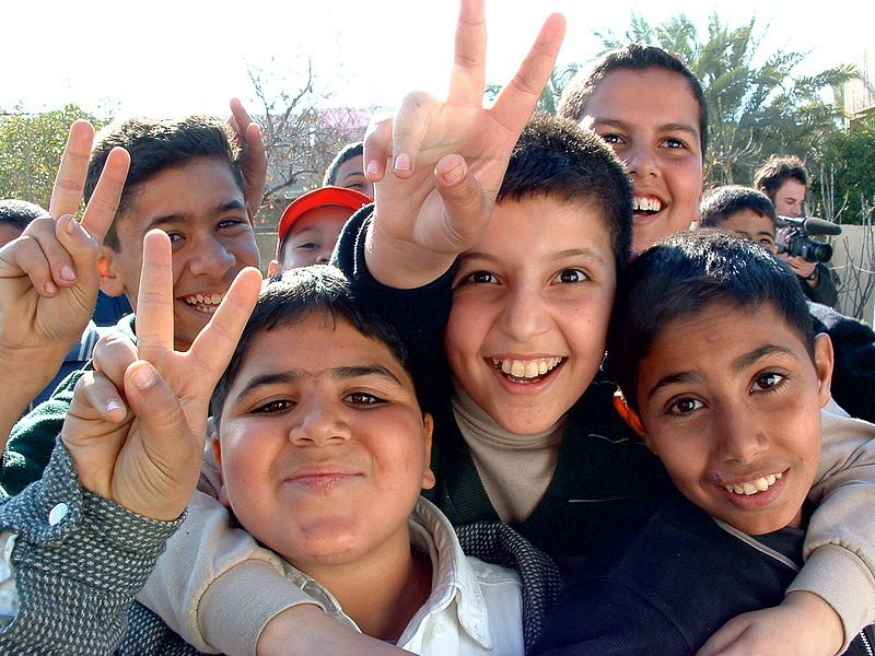 Iraqi boys outside the Amiriya bomb shelter, Baghdad