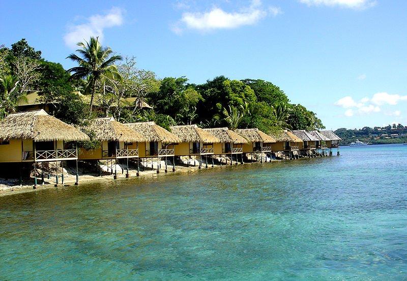 Resort bungalows on Iririki Island, Vanuatu