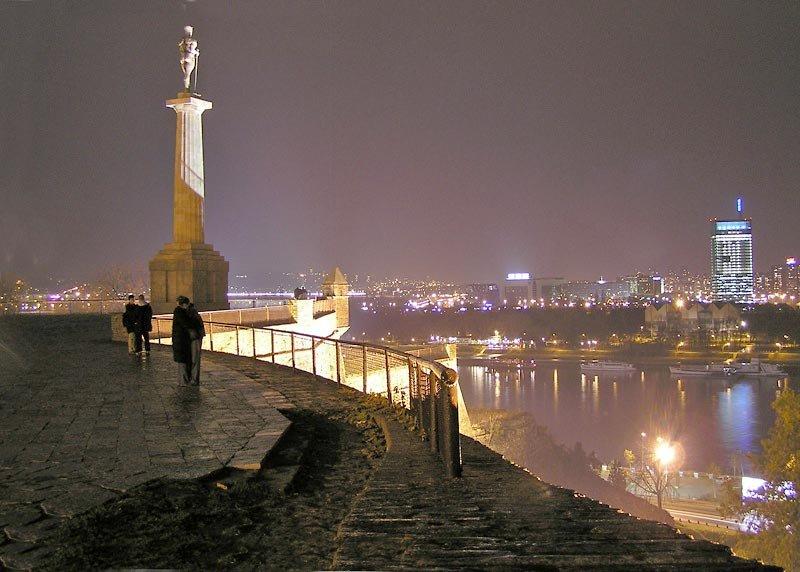 Kalemegdan Fortress Park overlooking Belgrade at night