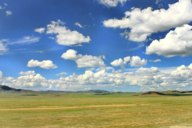 Landscape in Mongolia between Kharkhorin and Ulan Bator
