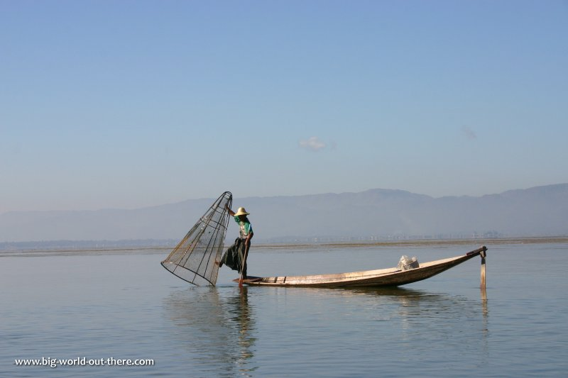 Leg-rowing fisherman of Inle Lake, Myanmar