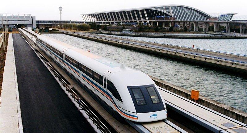 Maglev train leaving Pudong International Airport, Shanghai