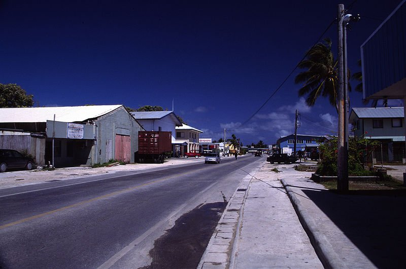 The main road in Majuro, in the Marshall Islands