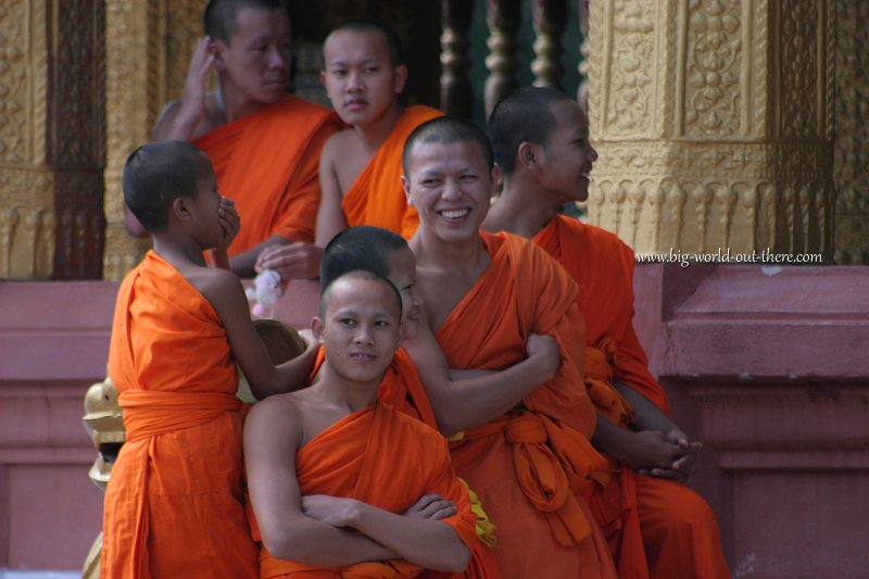 Monks and novices in Luang Prabang