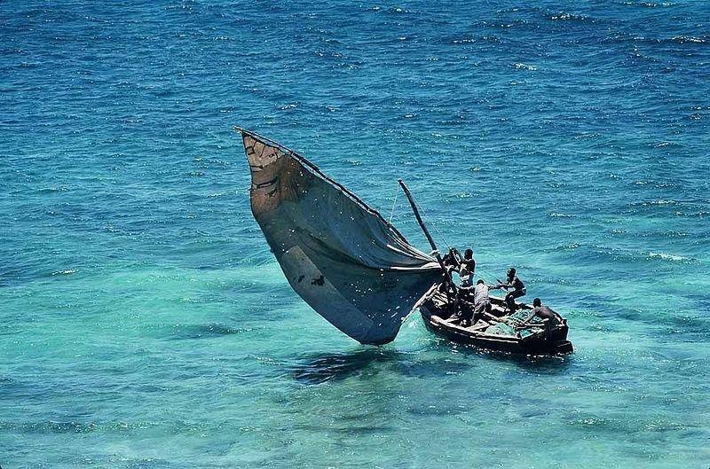 Mozambique fishermen in the Indian Ocean