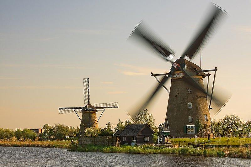 Operating windmills in Kinderdijk, Netherlands