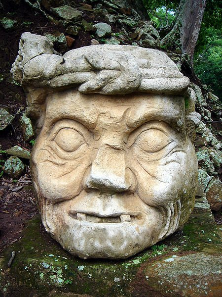 Pauahtun head in the Maya site of Copán