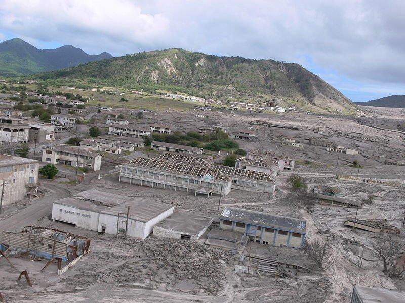 Plymouth volcano devastation, Montserrat