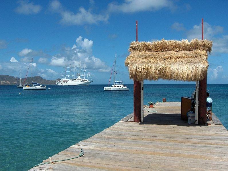 Ponton de Saline Bay, Mayreau island, the Grenadines