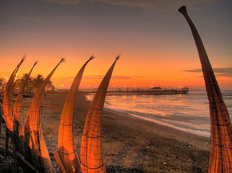 Reed fishing boats at Huanchaco Beach, Trujillo, Peru