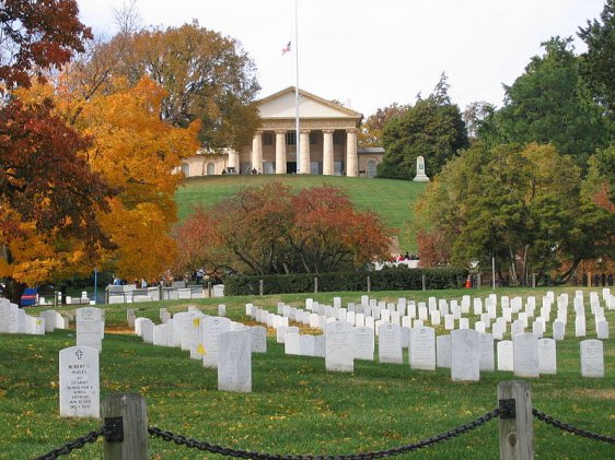 Arlington House, The Robert E. Lee Memorial, with Arlington National Cemetery in the foreground