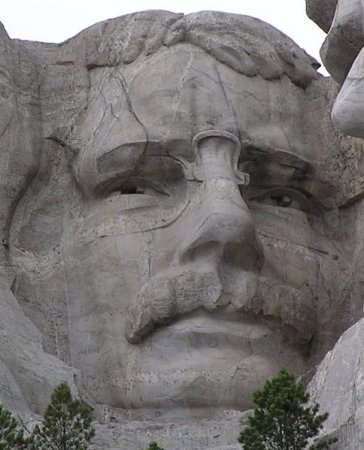 Close-up of Theodore Roosevelt on Mount Rushmore