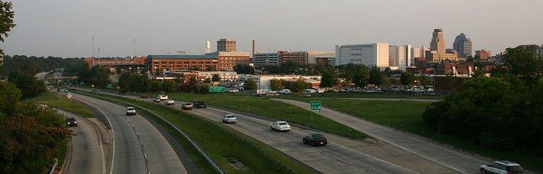 View of Durham, North Carolina, from Durham Freeway, near Exit 12B