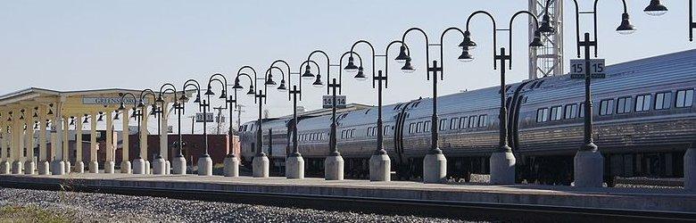 Amtrak train arriving at Greensboro Train Station, North Carolina