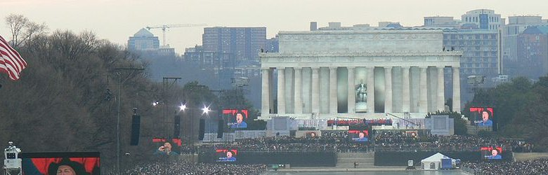 Lincoln Memorial, Washington DC, during the inauguration of President Obama, 18 January, 2009