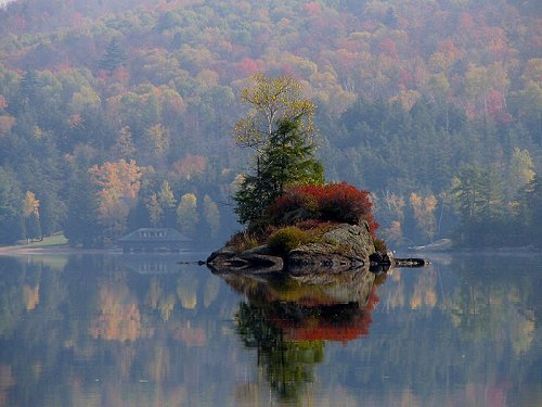 Island of Lower Saranac Lake, Adirondack Mountains, New York state