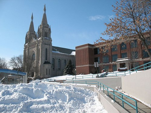 St Joseph's Cathedral in winter in Sioux Falls