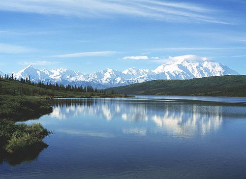 Wonder Lake at Denali National Park, with Mount McKinley in the background