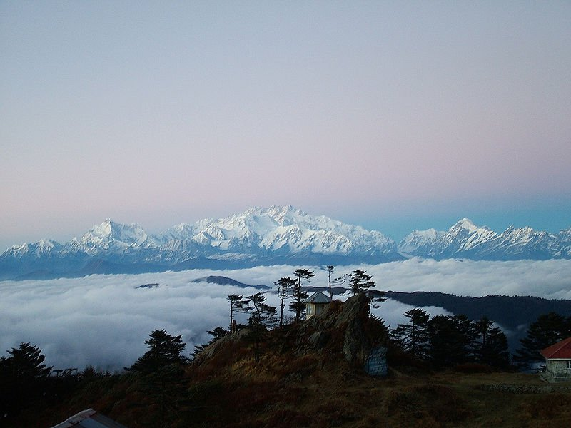 Snow-capped Sandakphu, highest mountain in West Bengal, India