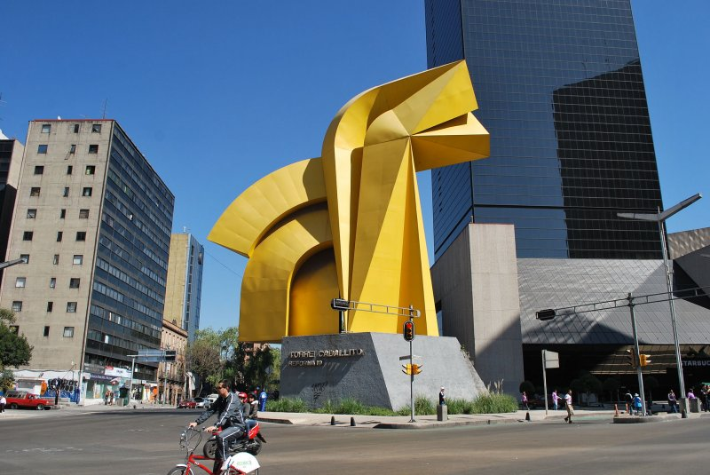 Sculpture in front of Torre del Caballito in Mexico City