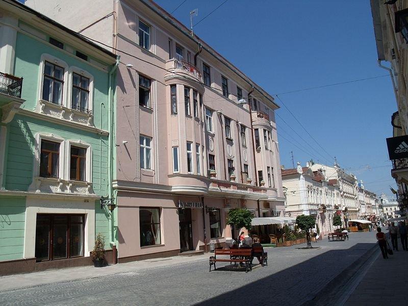 Pedestrianized street in Chernivtsi