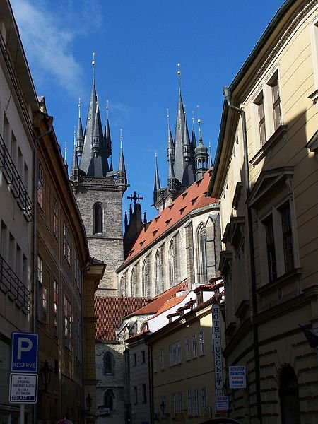 Street of Prague, with Our Lady in front of Tỳn Church