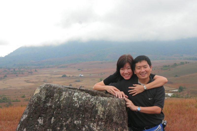 Tim and wife Chooi Yoke at the Plain of Jars, Laos