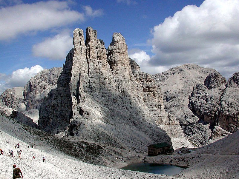 Jagged peaks of Le Torri del Vaiolet in the Dolomites, Italy