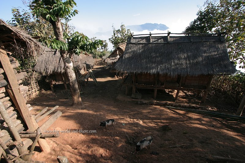 Tribal huts in the Laotian highlands