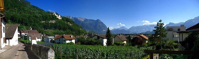 View from Mitteldorf, Vaduz, Liechtenstein