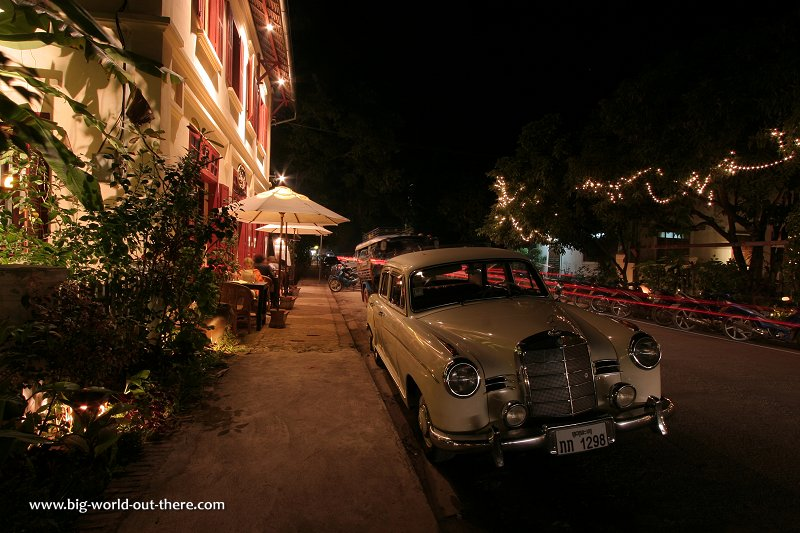 Vintage car on the street of Luang Prabang at night