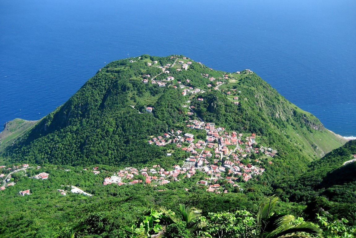 The village of Windwardside, Saba, as seen from Mount Scenery