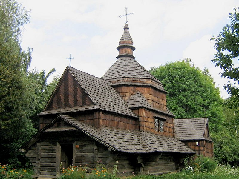 Old wooden church from Zelene, relocated to the Museum of Folk Architecture and Ethnography in Pyrochiv, Ukraine