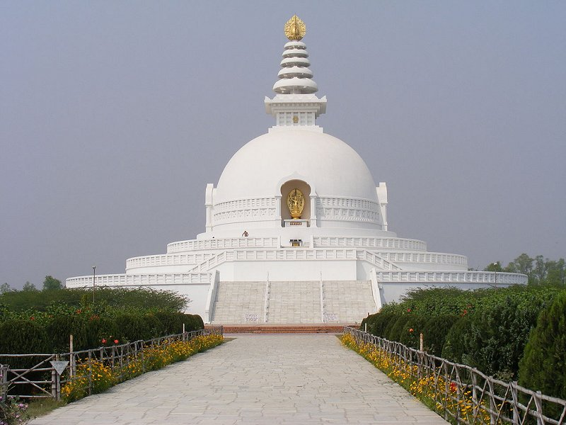The World Peace Pagoda in Lumbini, Nepal