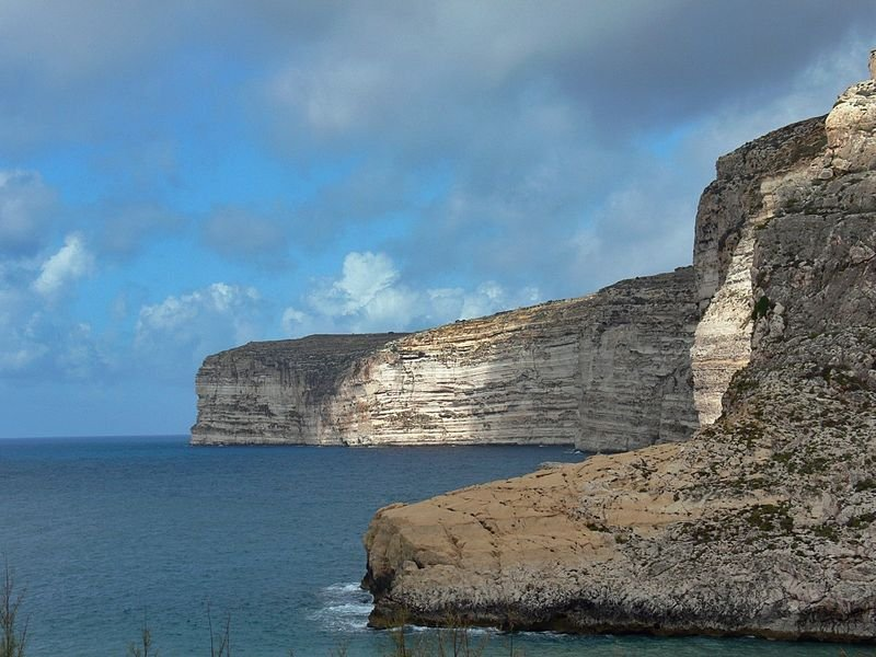 Cliffs near Xlendi in Gozo, Malta