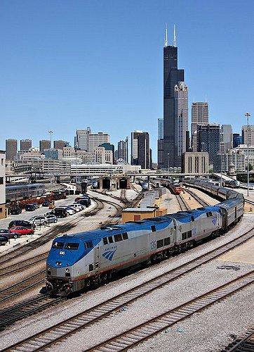 Amtrak train approaching Union Station, Chicago