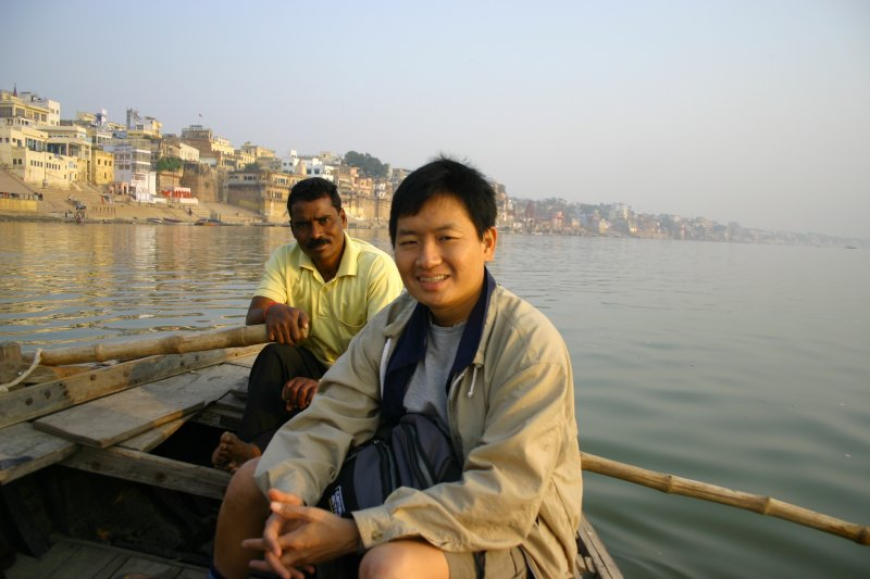 Here I with my boatman on the Ganges in Varanasi