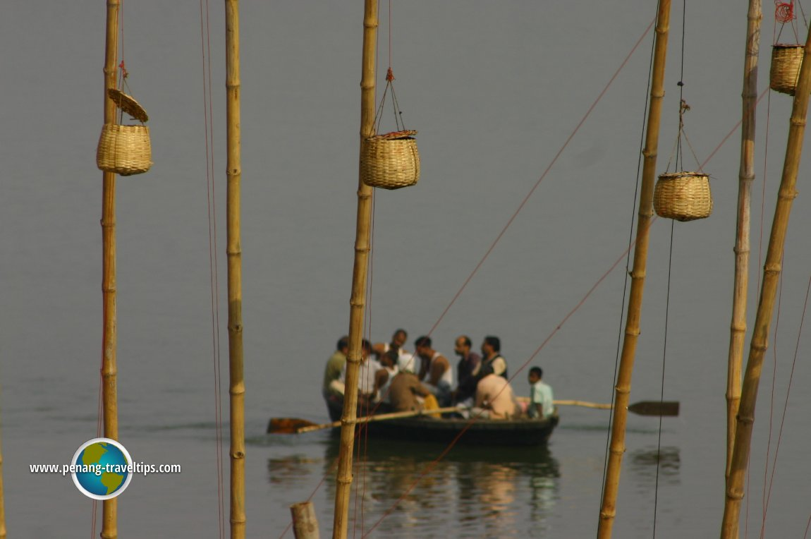 A ferryboat carrying passengers across the Ganges in Varanasi