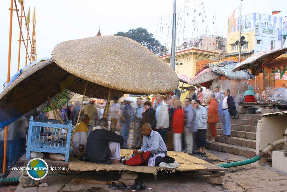 Kiosks beside the Ganges in Varanasi