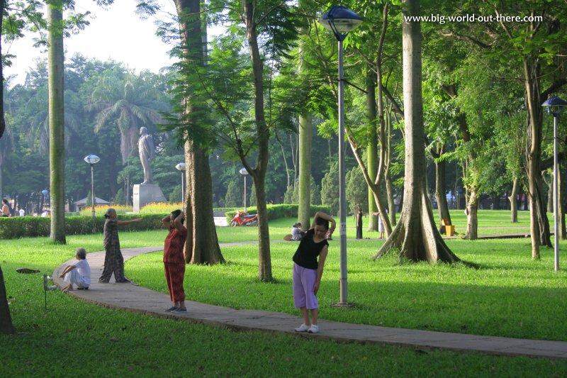 People exercising at Lenin Park, Hanoi