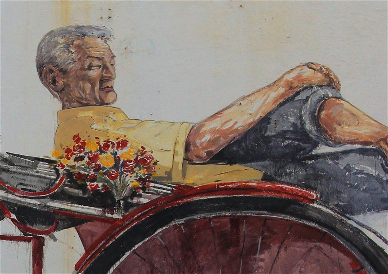 Closeup view of The Awaiting Trishaw Pedaler mural