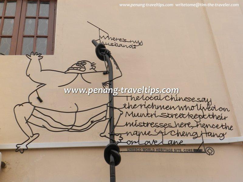 Cheating Husband Sculpture, Love Lane, George Town, Penang
