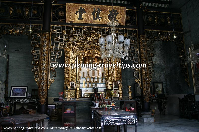 Ancestral shrine, central prayer hall of the Chung Keng Kwee Ancestral Temple