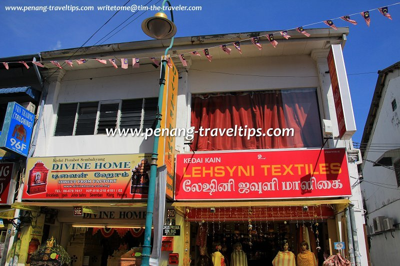 Divine Home and Lehsyni Textiles, two shops in Little India, George Town