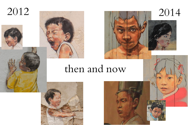 Children's faces by Ernest Zacharevic, in 2012 and 2014