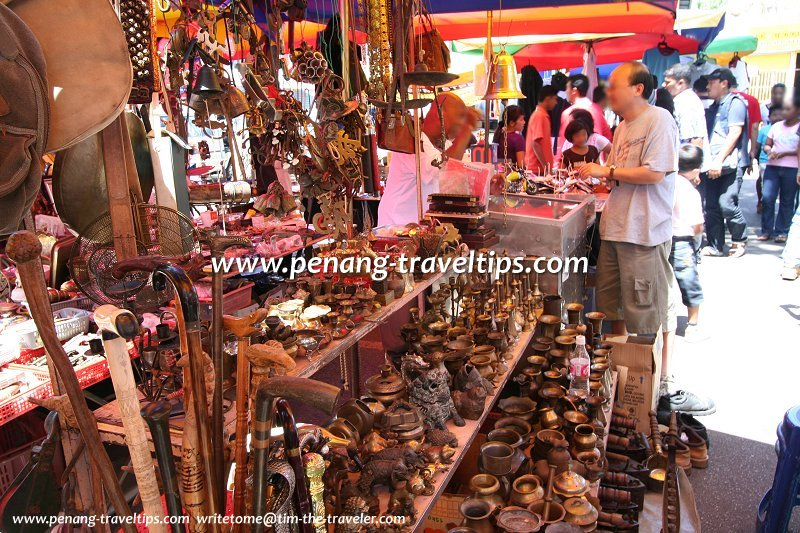 Brassware stall at the Lorong Kulit Flea Market